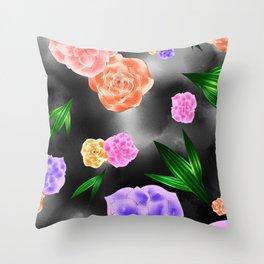 Black Blush Rose Throw Pillow