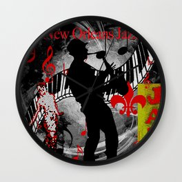 New Orleans Jazz Saxophone And Piano Music Wall Clock