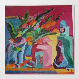 Happy Flowers and Vase Canvas Print