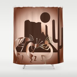 Kokopelli in the Southwest Brown Shower Curtain