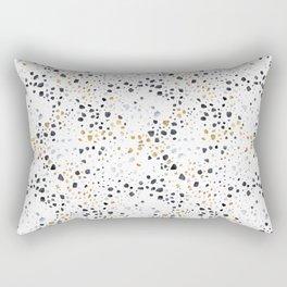 White Terrazzo (Black, Gray and Gold) Rectangular Pillow