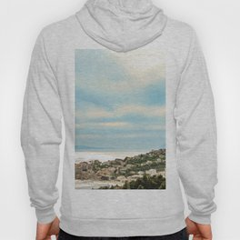 European Sunset | Colorful Costal Clouds Skyline Charming Ocean Town Baby Blue Yellow Tones Hoody