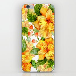 Yellow Hibiscus Tropical Continuous Floral Pattern iPhone Skin