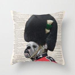 The Queen's Guard Bulldog Print, Bulldog print, English Bulldog, British Bulldog Art Print, vintage Throw Pillow