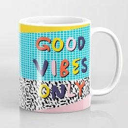 Check it - good vibes happy smiles fun modern memphis throwback art 1980's 80's 80s 1980s 1980 neon  Coffee Mug