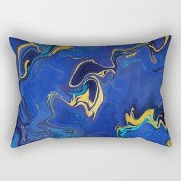 Lapis and Teal Liquid Art Rectangular Pillow