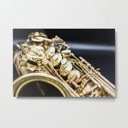 Alto saxophone black background Metal Print