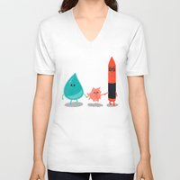 water color V-neck T-shirts featuring Water + color by Coconutman