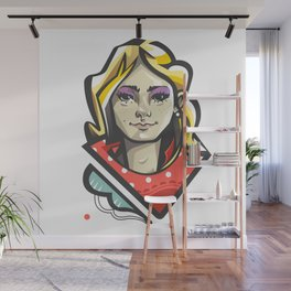 Girl in red Wall Mural