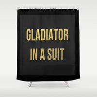 gladiator Shower Curtains featuring Gladiator in a suit Gold by Luxe Glam Decor