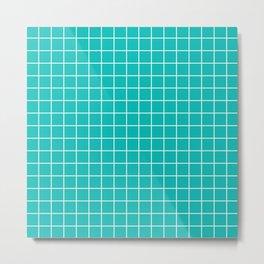 Tiffany Blue - blue color - White Lines Grid Pattern Metal Print