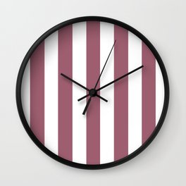 Rose Dust purple - solid color - white vertical lines pattern Wall Clock