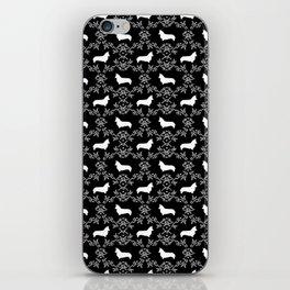 Corgi silhouette florals dog pattern black and white minimal corgis welsh corgi pattern iPhone Skin