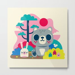 Woodland Bear and Bunny / Cute Animals Metal Print