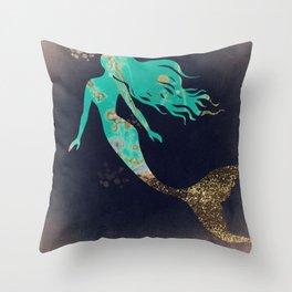 Turquoise Mermaid Throw Pillow