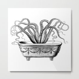 Tentacles in the Tub | Octopus | Black and White Metal Print
