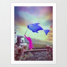 corsa col pesce Art Print
