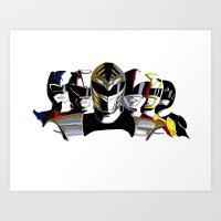power rangers Art Prints featuring Power Rangers by SquidInkDesigns