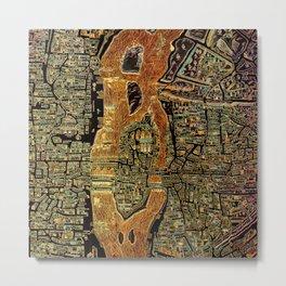 Colorful Antique Map of Paris, 1550 Metal Print