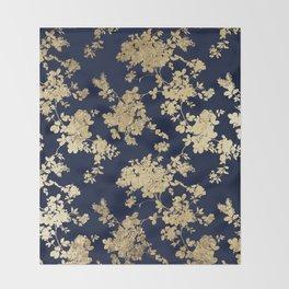 Elegant vintage navy blue faux gold flowers Throw Blanket
