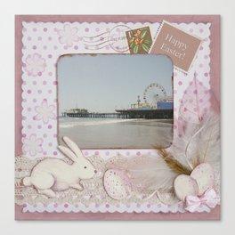 Happy Easter Santa Monica Pier Greeting Canvas Print