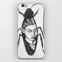 kafka iPhone & iPod Skins featuring Franz Kafka--Author Portrait Metamorphosis by Wicked Ink