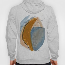 Gentle Breeze: a minimal, abstract mixed-media piece in blues and tans by Alyssa Hamilton Art Hoody