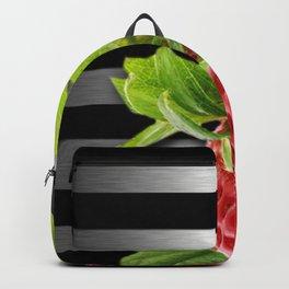 Strawberry Black & Silver Metallic Stripes Backpack