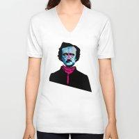 poe V-neck T-shirts featuring Poe by Alvaro Tapia Hidalgo