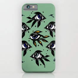 Evil eye _Mystic Eyes_Intuition Awakening _Hand Painted black ink iPhone Case