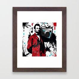 ABRAHAM LINCOLN INK SPLASH RED MAKE MUSIC NOT WAR Framed Art Print