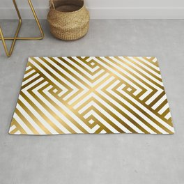 Art Deco Gold and Alabaster White Geometric Pattern Rug