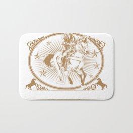 Illustration of cowboys riding horse Bath Mat