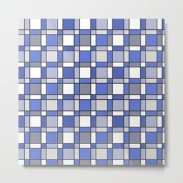 Blue Hue Checkers Metal Print