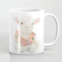 Baby Lamb Floral Watercolor Farm Animal Coffee Mug