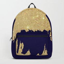 Modern abstract navy blue gold glitter brushstrokes Backpack