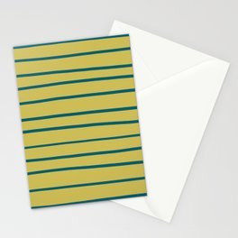 Tropical Dark Teal Simple Minimal Hand Drawn Horizontal Line Pattern 3 Inspired by Sherwin Williams 2020 Trending Color Oceanside SW6496 on Dark Yellow Stationery Cards