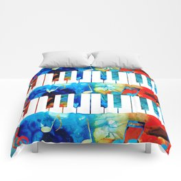 Colorful Piano Art by Sharon Cummings Comforters
