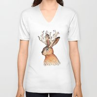 jackalope V-neck T-shirts featuring Jackalope by Sandra Dieckmann