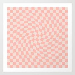 Check VII - Pink Twist Art Print