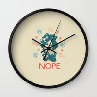 nope Wall Clocks featuring NOPE by Roxana C.