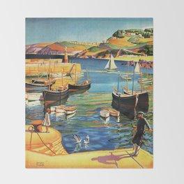 Vintage St. Ives Cornwall England Travel Throw Blanket