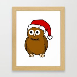 Christmas Owl With Santa Hat Predator Bird Nocturnal Framed Art Print