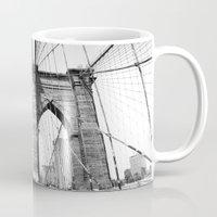 brooklyn bridge Mugs featuring Brooklyn Bridge by MadameBrightside