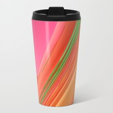 Peach Apricot Mango Bold Stripes Metal Travel Mug
