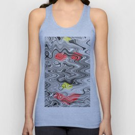 Absolute Abstract Grey Jiggle With Colour Splash Unisex Tank Top