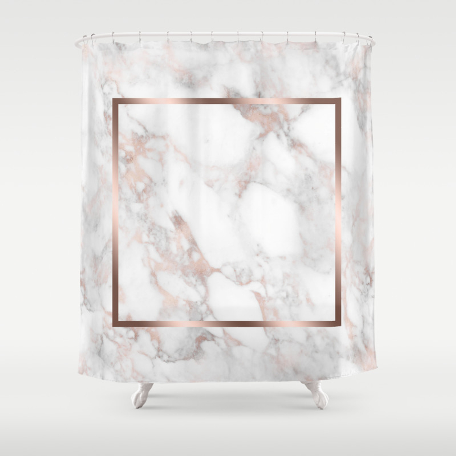 Luxury Rose Gold Faux Marble Shower Curtain