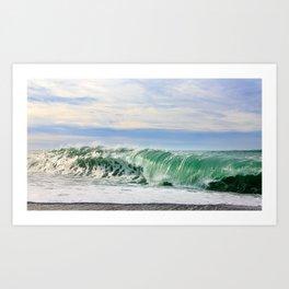 Ocean Waves Breaking on Shore Art Print