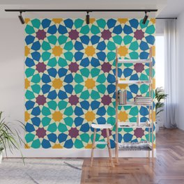Moroccan pattern, Morocco. Patchwork mosaic with traditional folk geometric ornament Wall Mural