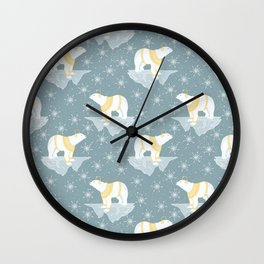 Bears and Snow Pattern Wall Clock